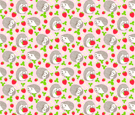 Hedgehogs & Strawberries fabric by beeskneesindustries on Spoonflower - custom fabric