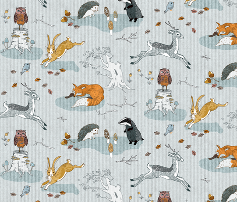 Hogs under hedges + foxes on copses (REGULAR)  fabric by nouveau_bohemian on Spoonflower - custom fabric