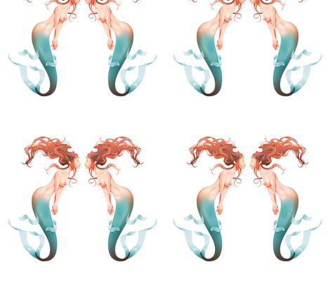 Mermaid is dreaming about herself fabric by ddraw_illustrations on Spoonflower - custom fabric
