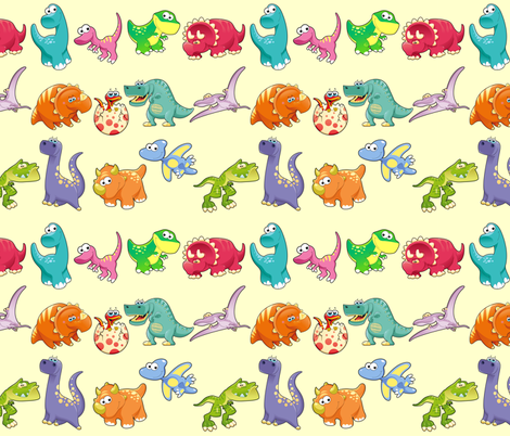 Group of funny dinosaurs with background fabric by ddraw_illustrations on Spoonflower - custom fabric