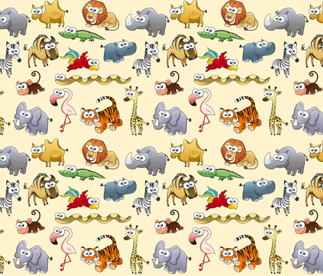 Savannah animals with background fabric by ddraw_illustrations on Spoonflower - custom fabric