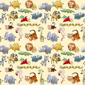 Savannah animals with background