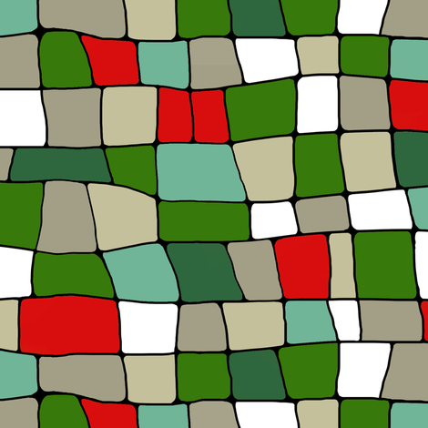 stained glass houses green fabric by lburleighdesigns on Spoonflower - custom fabric