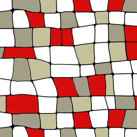 stained glass houses red and white fabric by lburleighdesigns on Spoonflower - custom fabric