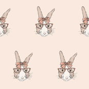 hipster bunny girl portrait in glasses and bow