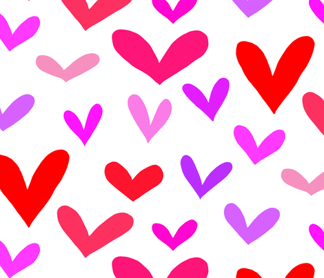 Hearts on white  fabric by emmakisstina on Spoonflower - custom fabric