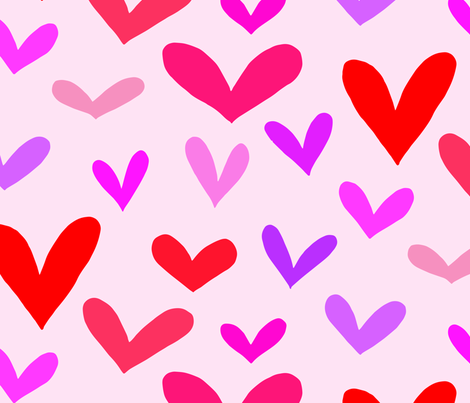 hearts on pink fabric by emmakisstina on Spoonflower - custom fabric
