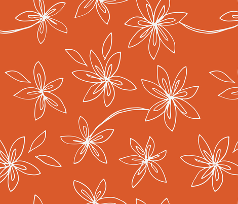 Floral Drawing on Orange fabric by kendrashedenhelm on Spoonflower - custom fabric