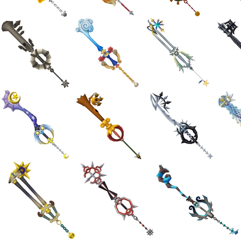 Kingdom Hearts - Key Blades fabric by sandityche on Spoonflower - custom fabric