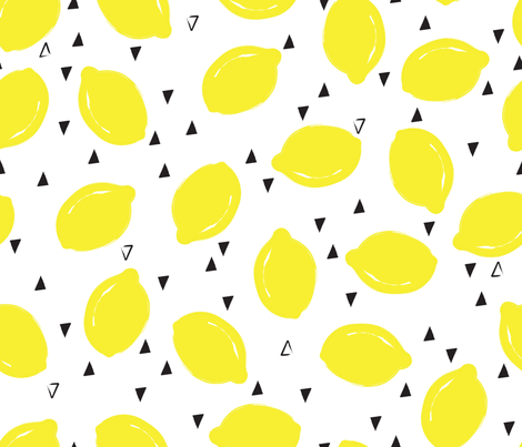 Summer Lemons fabric by oliveandruby on Spoonflower - custom fabric