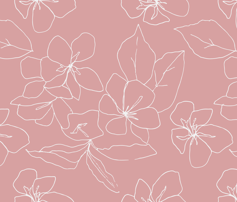 Delicate Flower Petals, Drawing on Pale Pink wallpaper