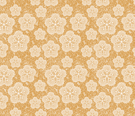 Yellow Flower Lace fabric by haleeholland on Spoonflower - custom fabric