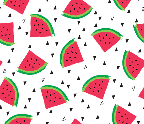 Summer Watermelon fabric by oliveandruby on Spoonflower - custom fabric