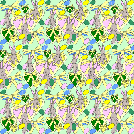 Bunny, Hearts, Bows and Easter Eggs Fabric 8 fabric by lworiginals on Spoonflower - custom fabric
