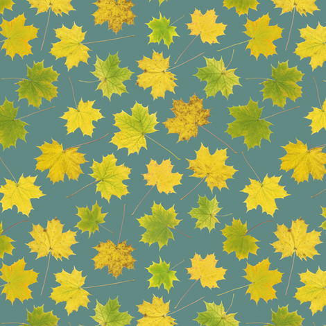 small maple leaves on slate blue fabric by weavingmajor on Spoonflower - custom fabric