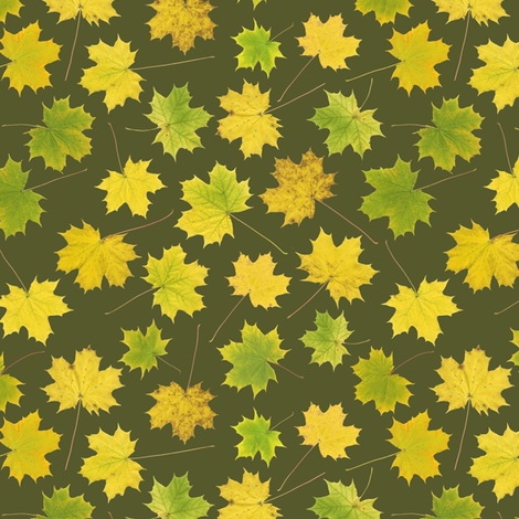 small maple leaves on bracken green fabric by weavingmajor on Spoonflower - custom fabric