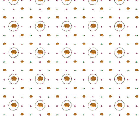 Hedgehogs in rings of flowers  fabric by dreamoutloudart on Spoonflower - custom fabric