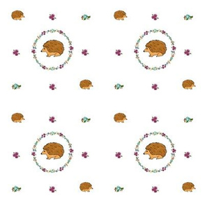Hedgehogs in rings of flowers