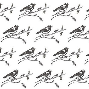 Rustic-style Drawing of a Bird on a Branch, Gray on White