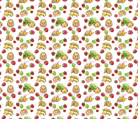 Hedgehogs and Strawberries fabric by kathyjurek on Spoonflower - custom fabric