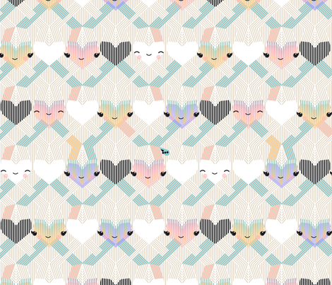 hugs and hearts knit fabric by boomexd on Spoonflower - custom fabric