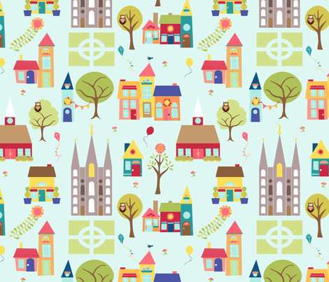 Temple Town: Main Fabric [Aqua] fabric by hang_a_ribbon_on_the_moon on Spoonflower - custom fabric