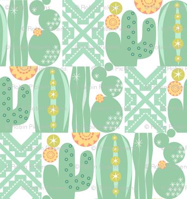 Southwest Cactus Garden Lite_Cactus w White