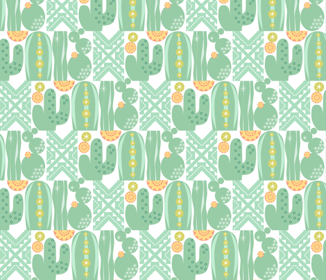 Southwest Cactus Garden Lite_Cactus w White fabric by robinpickens on Spoonflower - custom fabric