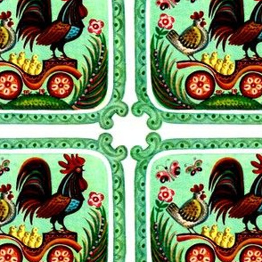 roosters hens chicks chickens birds butterfly butterflies flowers carts folk art vintage retro whimsical family parents fathers mothers children