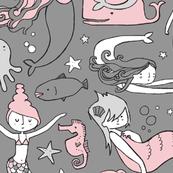Watergirls (gray/pink) LARGE