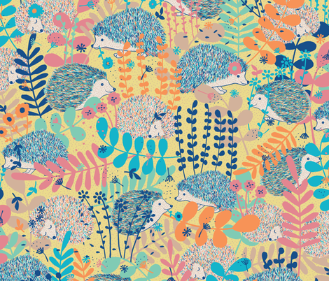 hedgehog haven fabric by gracedesign on Spoonflower - custom fabric