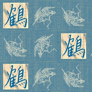 Cranes & Kanji - mediterranean blue, pink, gray