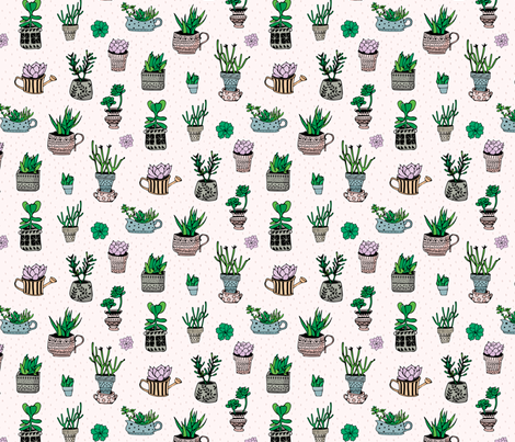 Succulent garden fabric by summertwin on Spoonflower - custom fabric