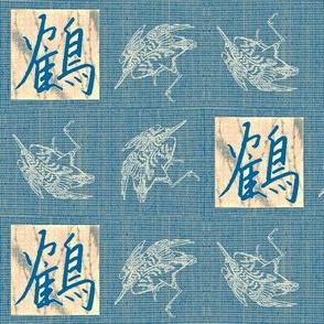Cranes & Kanji - mediterranean blue, pink, white