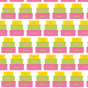 Stacked Suitcases Pink Green and Yellow
