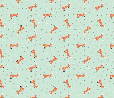 cute fox mint fabric by summertwin on Spoonflower - custom fabric