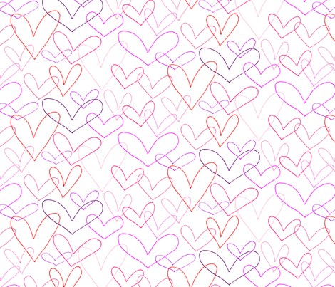 Hearts Outlines fabric by emmakisstina on Spoonflower - custom fabric