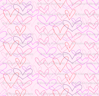Heart Outlines on Blush