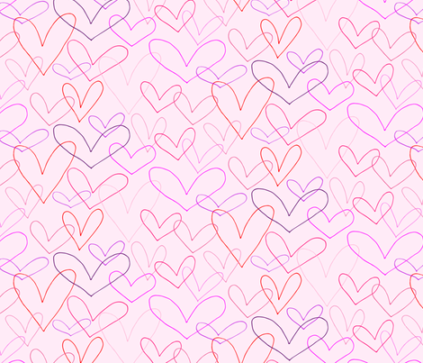Heart Outlines on Blush fabric by emmakisstina on Spoonflower - custom fabric