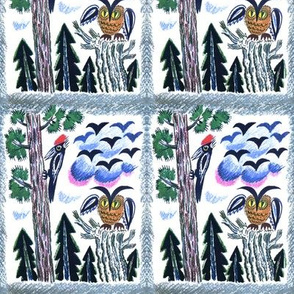 trees forests woodpeckers owls birds conifers coniferous clouds vintage retro kitsch whimsical