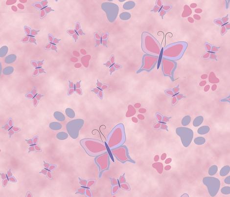 Butterfly & Pawprint fabric by sherry-savannah on Spoonflower - custom fabric
