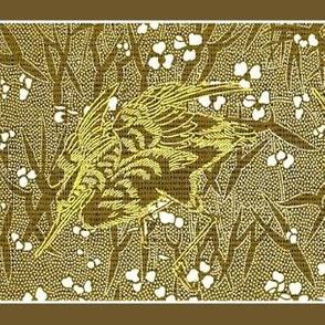 Crane Floral - gold, white