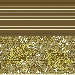 Crane Floral with Stripe - gold, white