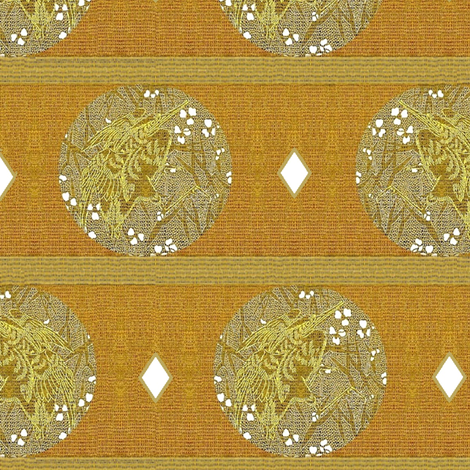Crane Medallion with diamond on wood fabric by materialsgirl on Spoonflower - custom fabric
