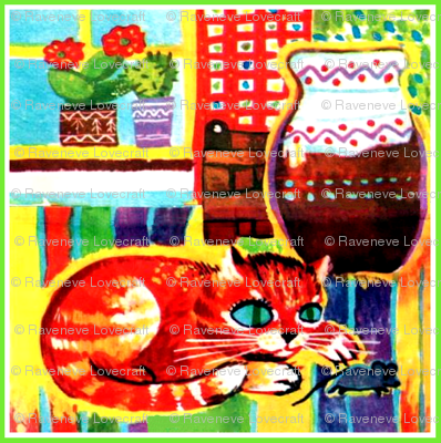 windows flowers plants cactus pots cats kittens mouse mice rats abstract colorful rainbow