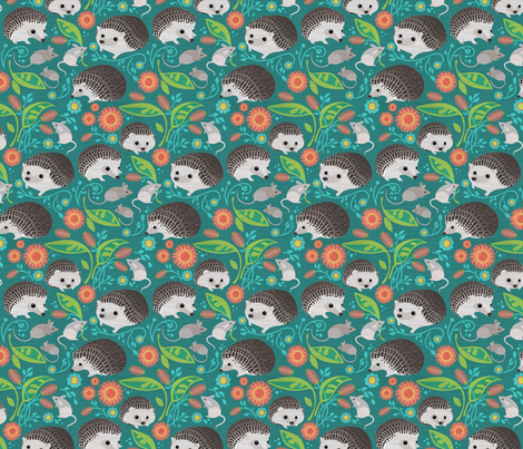 Hedgehogs and Mice Gathering_6in fabric by robinpickens on Spoonflower - custom fabric