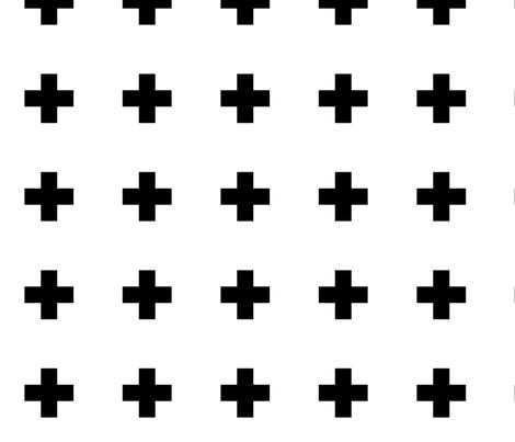 cross + black on white 2in narrow fabric by misstiina on Spoonflower - custom fabric