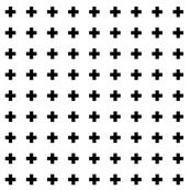cross + black on white 1in narrow