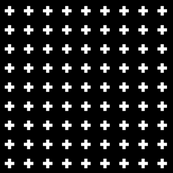 cross + white on black 1in narrow