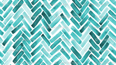 Mint  watercolor herringbone